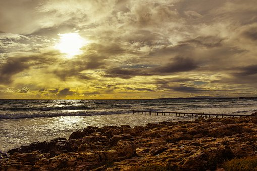 Sunset, Sky, Sea, Clouds, Beach, Nature, Landscape