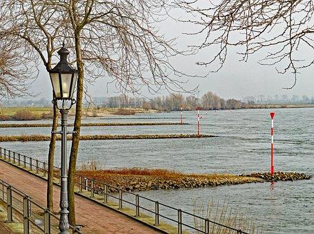 Niederrhein, Promenade, Rees, Shore Area, Groynes, Tags