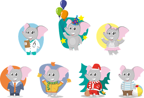 Animal, Elephant, Elephant Kid, Elephant Baby, Set