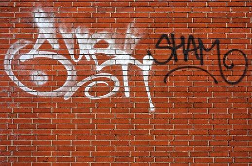 Graffiti, Letters, Spray, Paint, Brick Wall, Street