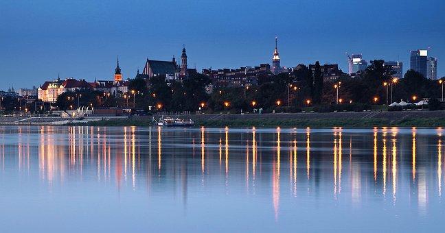 Warsaw, Wisla, Night, Panoramic, City, Travel, River