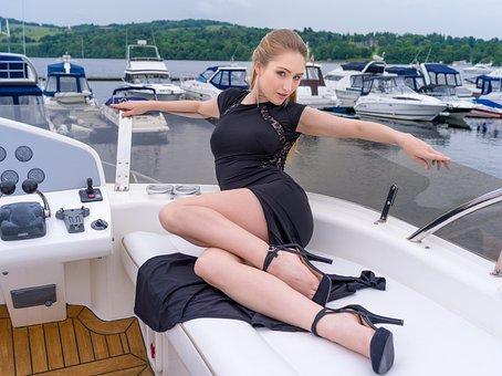 Model, Boat, Marina, Fly Bridge, Travel, Water, Woman