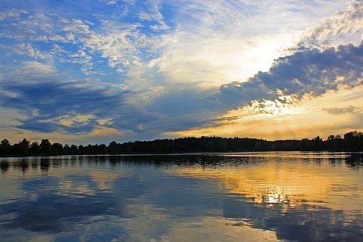 Reflection, Waters, Lake, Nature, Sunset, Abendstimmung