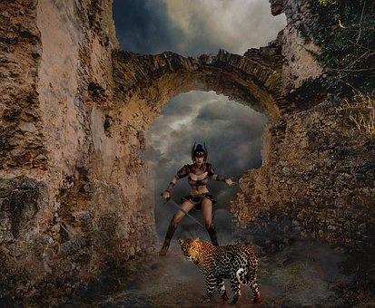 Castle, Knight's Castle, Archway, Woman, Amazone