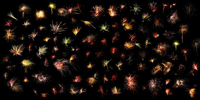 Fireworks, Christmas, Night, Dark, Beautiful