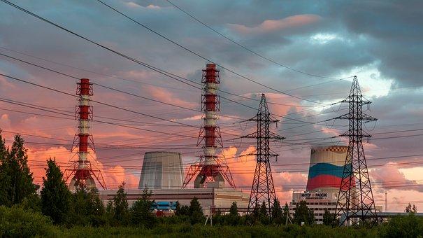 Industry, Energy, Power, Sky, Wire, Dawn