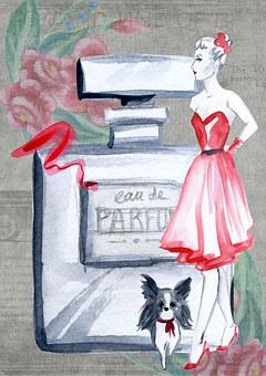 Chic, Retro, Perfume, French, Girl, Lady, Woman, Design