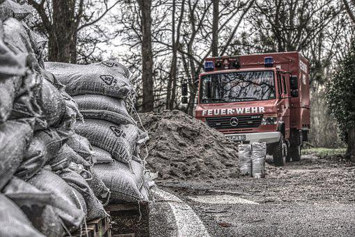 Sand Bags, Sand, Fire, High Water, Flood, Dike