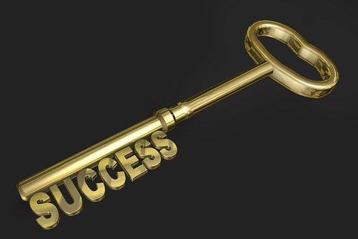 Success, Key, Gold, Gold Colored, Three Dimensional