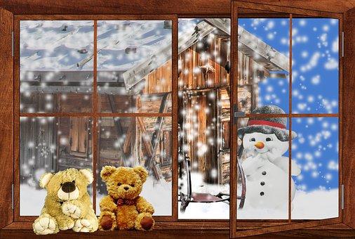 Landscape, Winter, Window, Snow, Snowman, Teddy