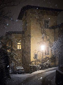 Winter, Road, Lantern, Lamp, Light, Lighting, Snow