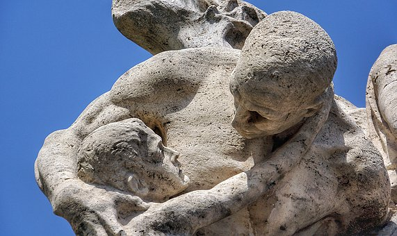 Father, Son, Man, Boy, Hope, Despair, Statue, Rock