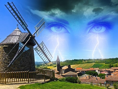 Wallpaper, Eyes, Lightning, Angry, Clouds, Windmill