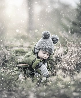 Baby, Child, Winter, Boy, Jacket, Cap, Cold, Play, Cute