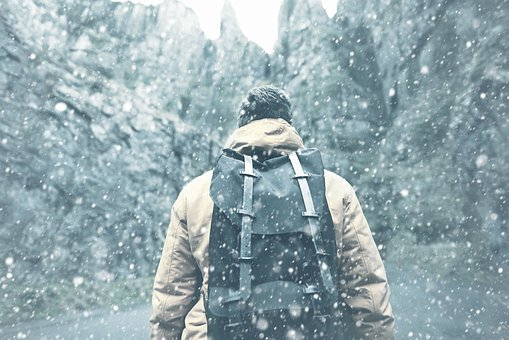 Man, Jacket, Backpack, Winter, Snow, Cold, Ice, Frost