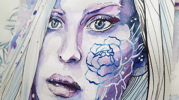 Woman, Girl, Painting, Face, Portrait, Purple, Flower