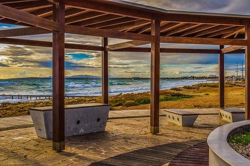 Promenade, Sea, Bench, Kiosk, Architecture, Design