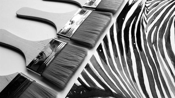 Brushes, Painting, Art, Zebra, Black, Paper, Watercolor