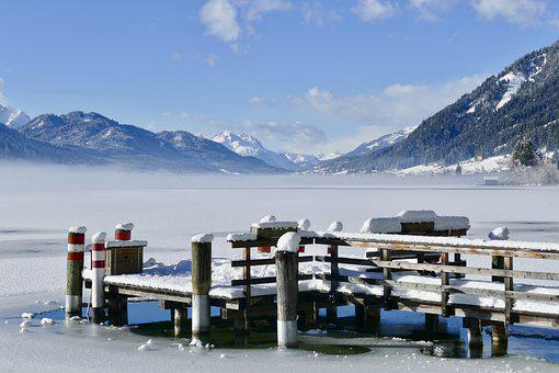 Snow, Winter, Mountain, Nature, Cold, Lake, Frozen