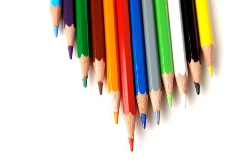 Pencil, Crayon, Sharp, Education, Rainbow