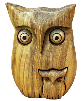 Owl, Eagle Owl, Holzfigur, Wood Owl, Owl With Child