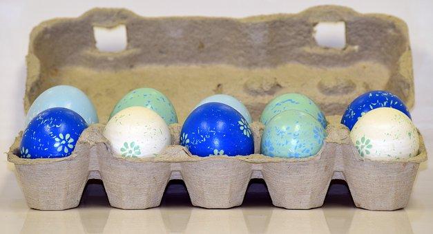 Easter Eggs, Egg Box, Egg Carton, Color, Colorful