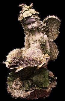 Fee, Elf, Wing, Wheelbarrow, Vintage, Weathered, Fairy