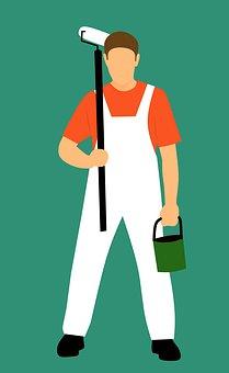 Design, Painter, Holding, Paint Jumpsuit, Decorator