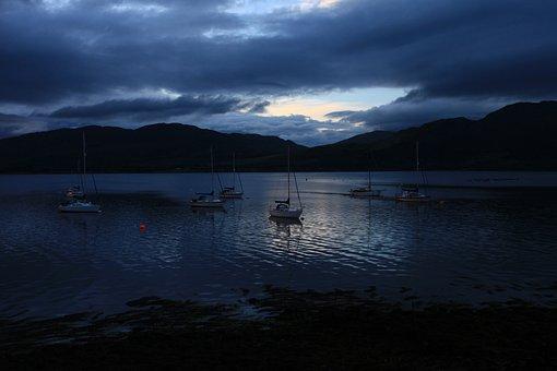Water, Reflection, Lake, Sunset, Dawn, Scotland, Loch