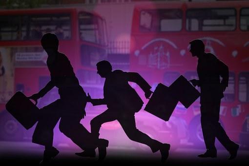 Silhouette, City, Big City, Bus, London, Person, Human