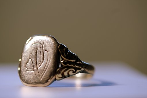 Ring, Signet Ring, Gold, Man, Initials, Shiny, Old