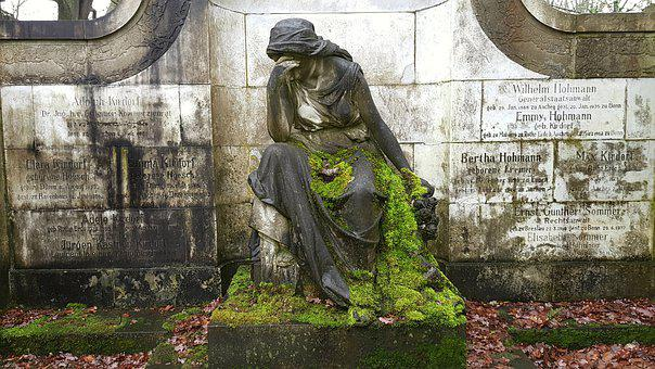 Woman, Mourning, Art, Statue, Sculpture, Wall, Monument