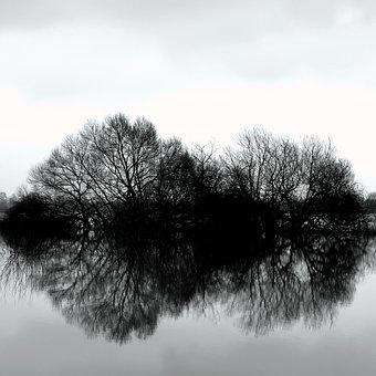 Nature, Weather, Season, Reflection, Weser, Water