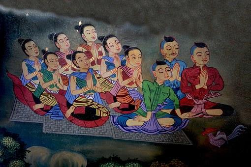 Girls, Praying, Buddha, Female, Religion, Prayer, Woman