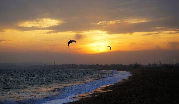 Sunset, Sky, Water, Sea, Nature, Sufers, Kitesurfers
