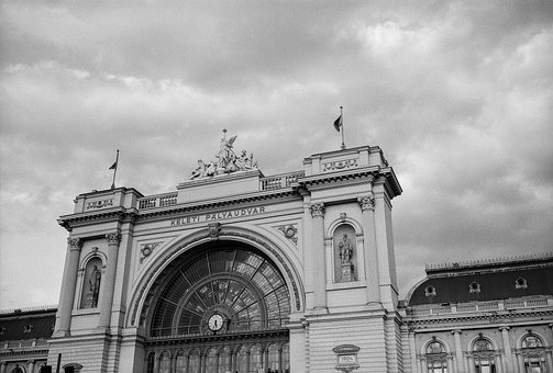 Train Station, Clouds, Europe, Architecture, Station
