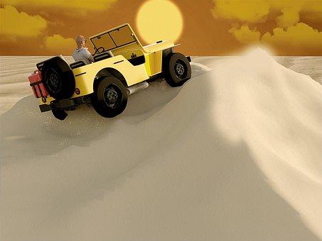 Desert, Jeep, Vehicle, Transport System, Auto, Travel