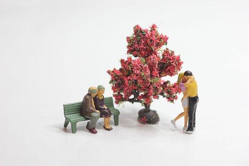 Love, Couples, Miniature Figures, Winter, Season, Tree