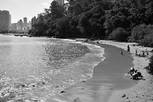 Nature, Beach, People, Sand, Black And White