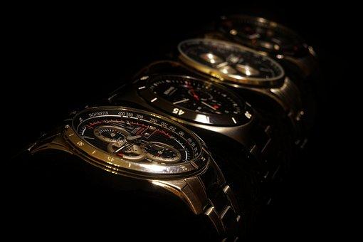 Clock, Bracelet, Wrist Watches, Time, Metal, Chrome