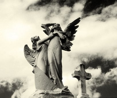 Angels, Cemetery, Cross, Sculpture, Statue, Stone