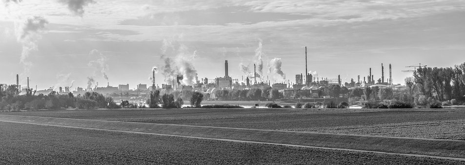 Industry, Chemistry, Factory, Exhaust Gases, Panorama