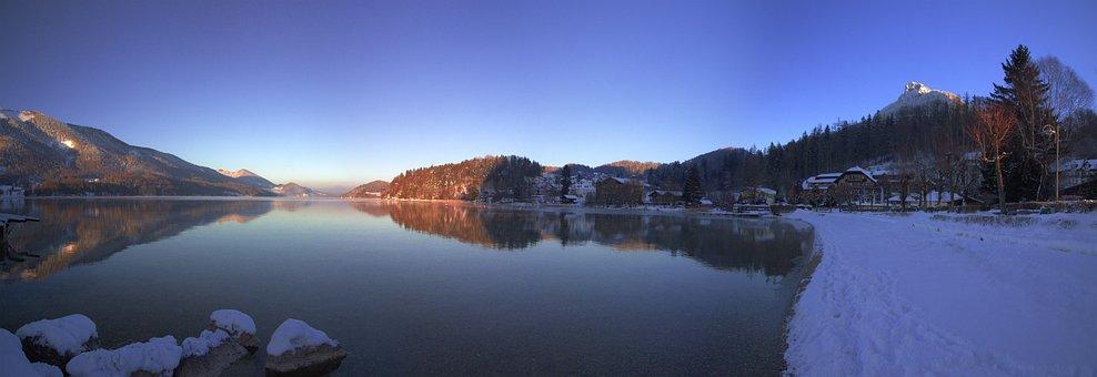 Panorama, Waters, Nature, Lake, Reflection, Fuschlsee