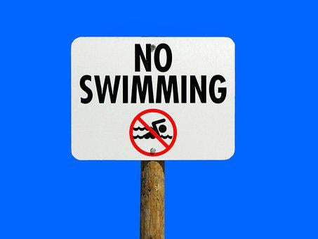 No Swimming Sign, Warning, Sign, Isolated Background
