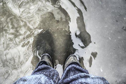 High Water, Rubber Boots, Water, Wet, Flood, Underwater