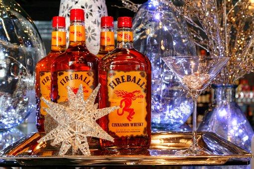 Winter, Glass, Celebration, Bottle, Fireball Whisky