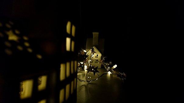 Christmas, Building, Decoration, Light, Dark, Stars