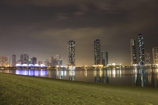 Skyline, City, Lake, Sky, Sharjah, Uae