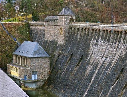 Eder Dam, Dam, Gate Building, Reservoir, Eder Reservoir
