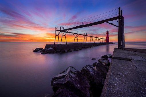 Sunset, Water, Dusk, Dawn, Evening, Bridge, Sky